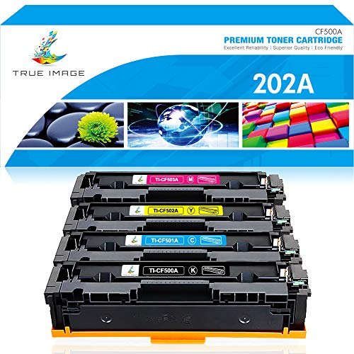 True Image Compatible Toner Cartridge Replacement for HP 202A CF500A M281 HP Color Laserjet Pro MFP M281fdw M281cdw M254dw M254 CF501A CF502A CF503A Printer Ink (Black Cyan Yellow Magenta, 4-Pack)