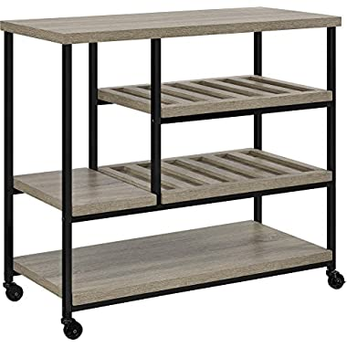 Ameriwood Home Elmwood Multi-Purpose Rolling Cart, Weathered Oak