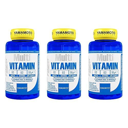 Yamamoto Nutrition Multi VITAMIN integratore alimentare multivitaminico ad ampio spettro con minerali (3 barattoli da 60 compresse)
