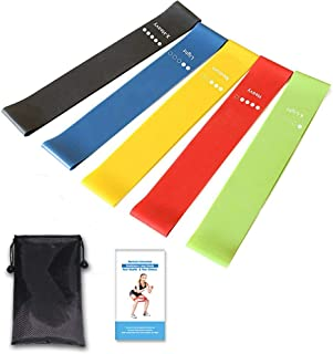 Resistance Loop Bands, Exercise Bands, GANA Set of 5 Natural Latex Fitness Bands for Workout and Physical Therapy, E-Guide...