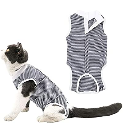 Due Felice Cat Professional Surgical Recovery Suit for Abdominal Wounds Skin Diseases, After Surgery Wear, E-Collar Alternative for Cats Dogs, Home Indoor Pets Clothing Black Pinstripe M