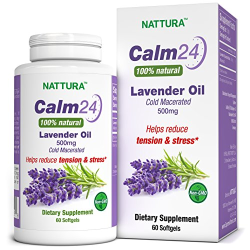 Calm Aid Lavender Oil Pills - 500mg -60 Softgels - 100% Natural, Helps Reduce Tension & Stress, Calming for Body & Mind, Sleep Aid, Anxiety Relief, Cold Macerated, Non-GMO, Certified Kosher