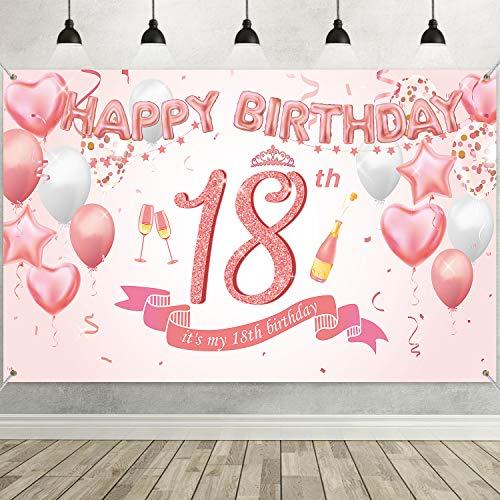 18. Geburtstag Rose Gold Party Dekoration, Groß Stoff Rose Gold Zeichen Poster für 18. Geburtstag Party Zubehör, 18. Jahrestag Hintergrund Banner 18. Geburtstag Party Foto Stand Hintergrund
