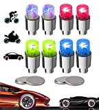 Yinch Update Led Bike Wheel Lights 8 Pack Car Tire Valve Cap Bicycle Motorcycle Tyre Spoke Flash Lights Waterproof Valve Stems Caps Accessories for Men Women Kids with 10 Extra Batteries (4 Color)