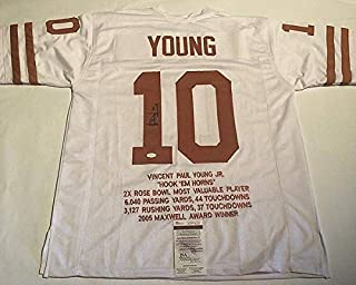 Vince Young Autographed Signed Texas Longhorns White Stat Jersey Memorabilia JSA Witnessed Coa