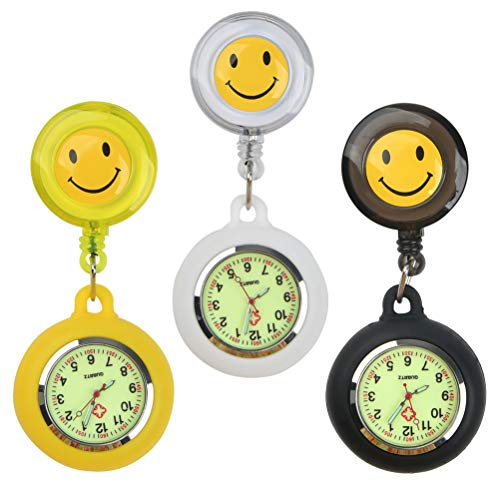JAOMON Relojes de Bolsillo de 3 Piezas para Médicos y Enfermeras Relojes de Bolsillo Médicos Retráctiles Negro Blanco Amarillo para Hombres y Mujeres Fondo Luminoso