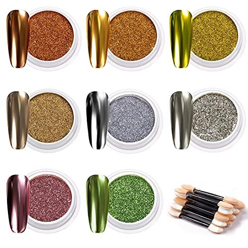 MELLIEX 8 Colors Polvo para Uñas, Efecto Espejo Pigmentos para Uñas Purpurina Polvo Acrilico Para Decoraciones Uñas, con 16 Piezas Palos de Sombra de Ojos