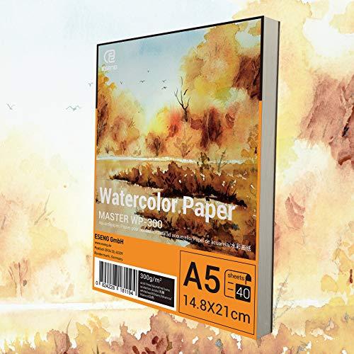 ESENG® Carta per acquerelli, 40 fogli – 300 g/m² – Blocco per acquerelli, formato DIN A5, bianco, blocco da colorare per acquerelli, disegno, pittura