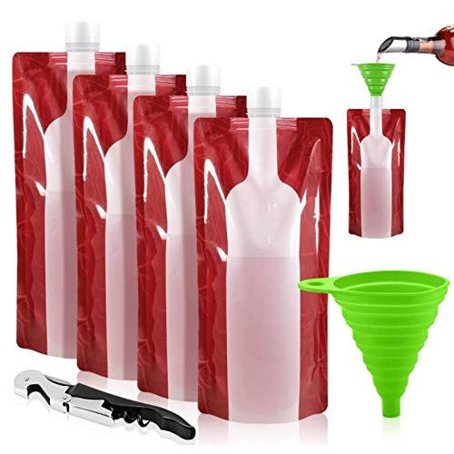 Faltbarer Trinkbeutel, 4 Stück Faltbare Weingläser, Tragbare Reise Plastik Weinflasche Kit, Wiederverwendbare Trinkflaschen mit Weinöffner, Trichter, Stopper (4 × 750ml)