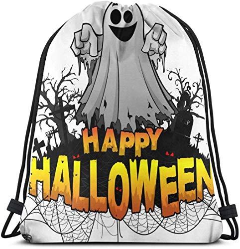 NA Gelukkig Halloween Ontwerp Sjabloon Aangepaste Klassieke Draagbare Trekkoord Rugzak, 14.2