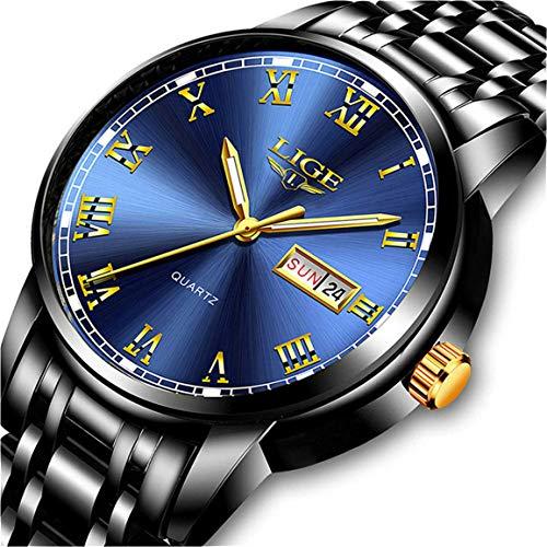 Lige, orologio da polso da uomo in acciaio inossidabile, impermeabile, analogico, al quarzo, elegante e lussuoso Orologi alla moda 9 nero blu