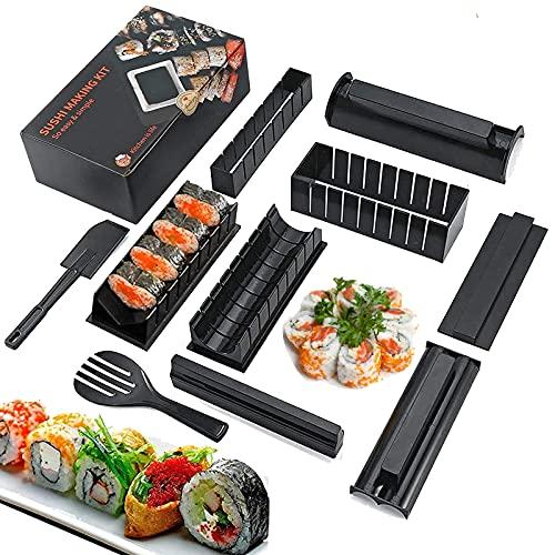 Sushi kit, Sushi Maker Kit, 10 PCS DIY Sushi Set Sushi Making Tools ,Kit Sushi per la casa per Sushi DIY facile e divertente per principianti ,Sushi roll Maker - Maki rotoli (nero)