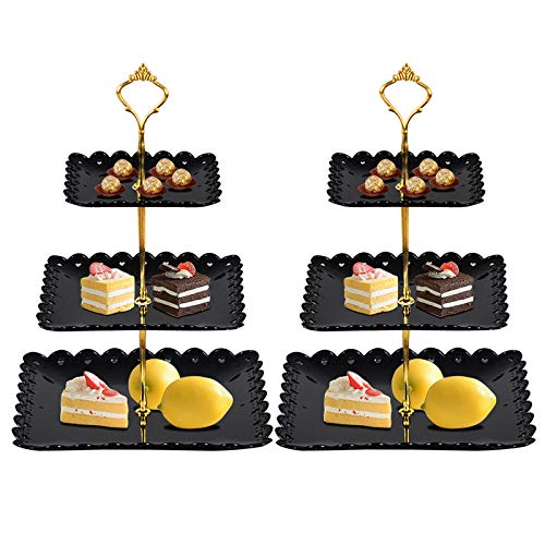 FEOOWV 2 Pcs Plastic 3 Tier Cupcake Stand, Black Fruits Desserts Candy Buffet Display Plate for Home Tea Party, Wedding, Baby Shower (Square)