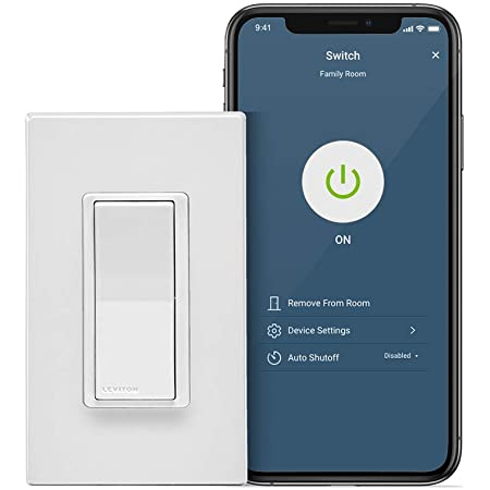 Leviton D215S-2RW Decora Smart Wi-Fi Switch (2nd Gen), Works with Hey Google, Alexa, Apple HomeKit/Siri, and Anywhere Companions, No Hub Required, Neutral Wire Required, White