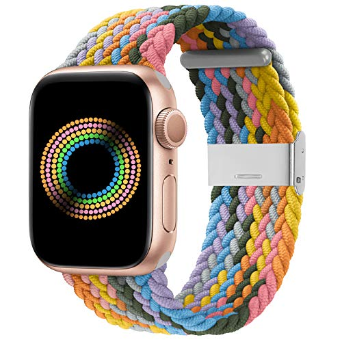 Bandiction Compatible with Apple Watch Bands 42mm 44mm, iWatch Bands for Women Men, Adjustable Braided Solo Loop with Buckle Woven Elastic Sport Bands for iWatch SE Series 6/5/4/3/2/1