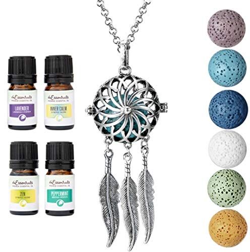 Wild Essentials Dream Catcher Essential Oil Diffuser Necklace Gift Set Includes Aromatherapy Pendant, 24' Stainless Steel Chain, Lava Stones and Pure Oils (Lavender, Peppermint, Inner Calm and Zen)