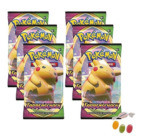 Pokemon Schwert & Schild - Farbenschock - 6 Booster - Deutsch zusätzlich 1 x Sticker-und-co Fruchtmix Bonbon