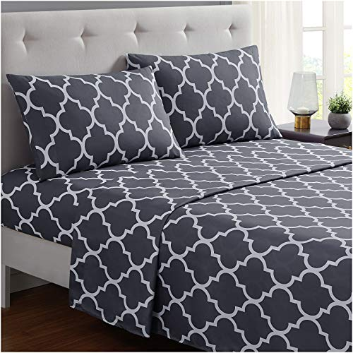 Mellanni Bed Sheet Set Calking-Gray - Brushed Microfiber Printed Bedding - Deep Pocket, Wrinkle, Fade, Stain Resistant - 4 Piece (Cal King, Quatrefoil Silver - Gray)