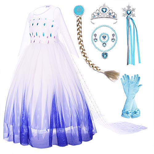 Princess Costume Fancy Snow Queen II Dress Up with Cape Tiara Wand Wig Gloves Accessories Set for Toddler Girls Birthday Party 4T 5T 4-5 Years