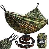 NATUREFUN Hamaca Ultraligera para Camping| 300kg de Capacidad de Carga, (275 x 140 cm), Transpirable y de Secado rápido. 2 mosquetones Premium, 2 eslingas de Nylon Incluidas