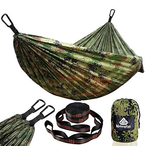NATUREFUN Ultraleichte Reise Camping Hängematte | 300kg Tragkraft, (275 x 140 cm) Atmungsaktiv, Schnelltrocknendes| 2 x Premium Karabiner, 2 x Nylon-Schlingen Inbegriffen