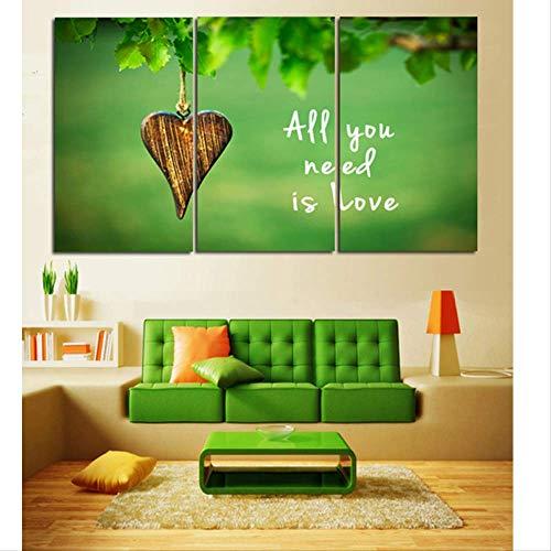 HTRHUA 3 panelen groen Alles wat je nodig hebt is Liefde canvas schilderij olieverfschilderij druk op canvas wooncultuur wandschilderij voor de woonkamer 40 * 80cm*3pcs Met frame.