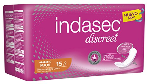 INDASEC Discreet - Compresa para Pérdidas, Leves Maxi, 15 Unidades, Negro (3821831)