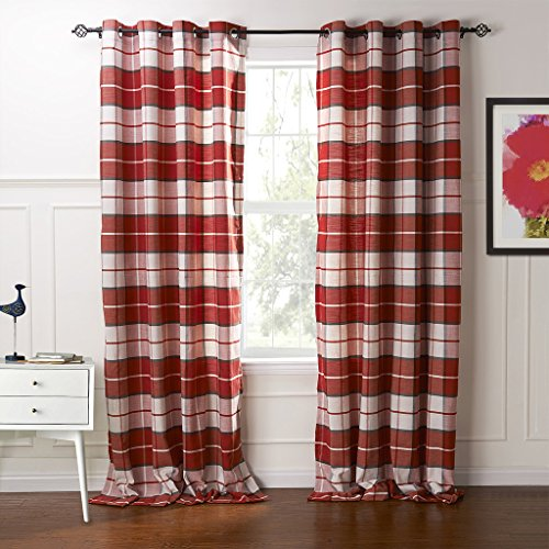 """IYUEGO Country Retro Red Plaid Eco-Friendly Jacquard Grommet Top Curtains Draperies with Multi Size Custom 50"""" W x 84"""" L (One Panel)"""