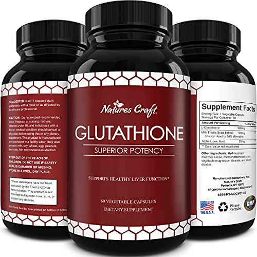 Pure Glutathione Supplement for Liver Support - L Glutathione Pills with Glutamic Acid and Milk Thistle Seed Extract for Skin Care and Digestive Health - Liver Health Supplement for Liver Cleanse