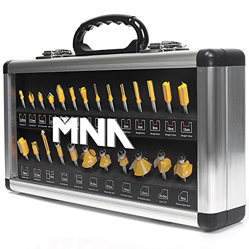 MNA Router Bit Set 25 Pieces 1/4 Inch, European Edition Router Bits Kit, Traditional Woodworking Tools, Aluminium Case