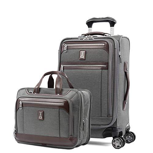 Travelpro Platinum Elite-Softside Expandable Spinner Wheel Luggage, Brief Set, Vintage Grey, 2-Piece
