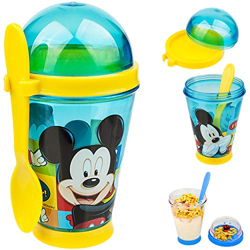 alles-meine.de GmbH Joghurtbecher / Müslibecher - to go - mit Löffel - Disney - Mickey Mouse - 350 ml - Kinder - BPA frei - Tritan - Kunststoff Plastik - Plaste Glas - Salatbeche..