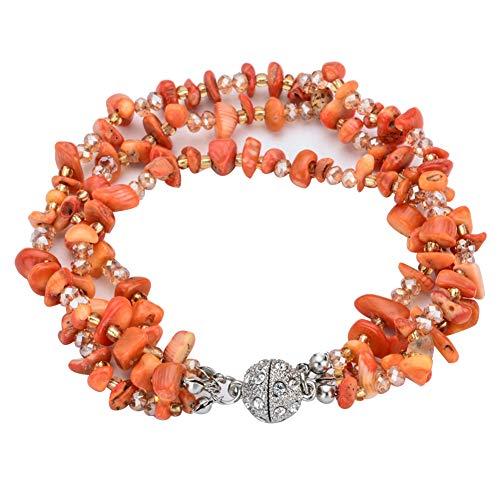 XQxiqi689sy Pulsera multicapa Natural Stone Charmlet muñeca círculo mujer magnética pulsera joyas naranja