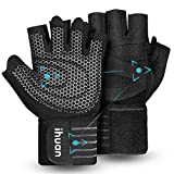 Updated 2021 Version Professional Ventilated Weight Lifting Gym Workout Gloves with Wrist Wrap Support for Men & Women, Full Palm Protection, for Weightlifting, Training, Fitness, Hanging, Pull ups