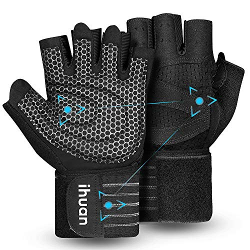 Updated 2020 Version Professional Ventilated Weight Lifting Gym Workout Gloves with Wrist Wrap Support for Men & Women, Full Palm Protection, for...