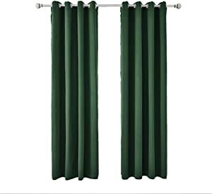 Wařm High Shading Blackout Windows Curtain Drape Panel For Living Room Bedroom Interior Home Decoration Solid Color Dark green W55''xL88''(140x225cm)