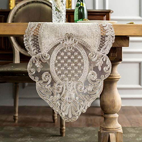 ARTABLE Lace Table Runner Rectangle Gray Cotton Linen Fabric Dresser Scarf with Exquisite Macrame Embroidery Table Runners for Kitchen Home Wedding Party Dining Decoration (Stone Gray, 16 x 70 Inch)