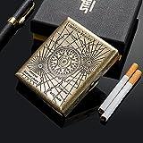 Luopan - Pitillera retro de metal para 20 cigarrillos, de acero inoxidable, para...