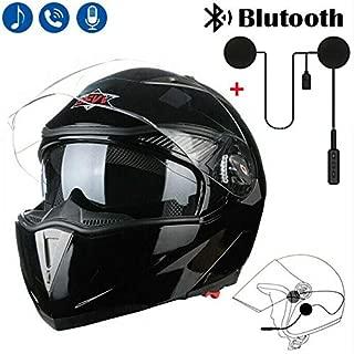 DOT Motorcycle Modular Flip Up Dual Visor Full Face Helmet + Bluetooth Headset