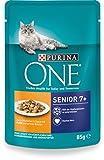 Purina One Gato húmedo Forro Senior 7+, con Pollo y Granos Verdes, 24x 85g