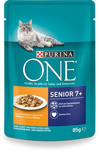 Purina One Gatto Bagnato Fodera Senior 7+, con Pollo e Chicchi di Verde, 24X 85g