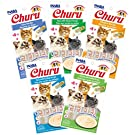INABA Churu Lickable Purée Wet Treat for Cats | Playful Hand Feed or as Food Topper | No Grains, No Preservatives, with Added Vitamin E and Green Tea | 5 Flavor Pack of 20 Tubes