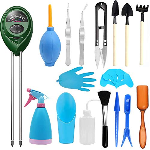 Abimars Bodenfeuchtigkeit/Licht/pH Tester Kits mit 24 Bonsai-Werkzeugen, Mini-Garten Transplanting-Werkzeug-Set, Gartenarbeit Handwerkzeuge für Sukkulenten oder Garten-Pflanzenpflege
