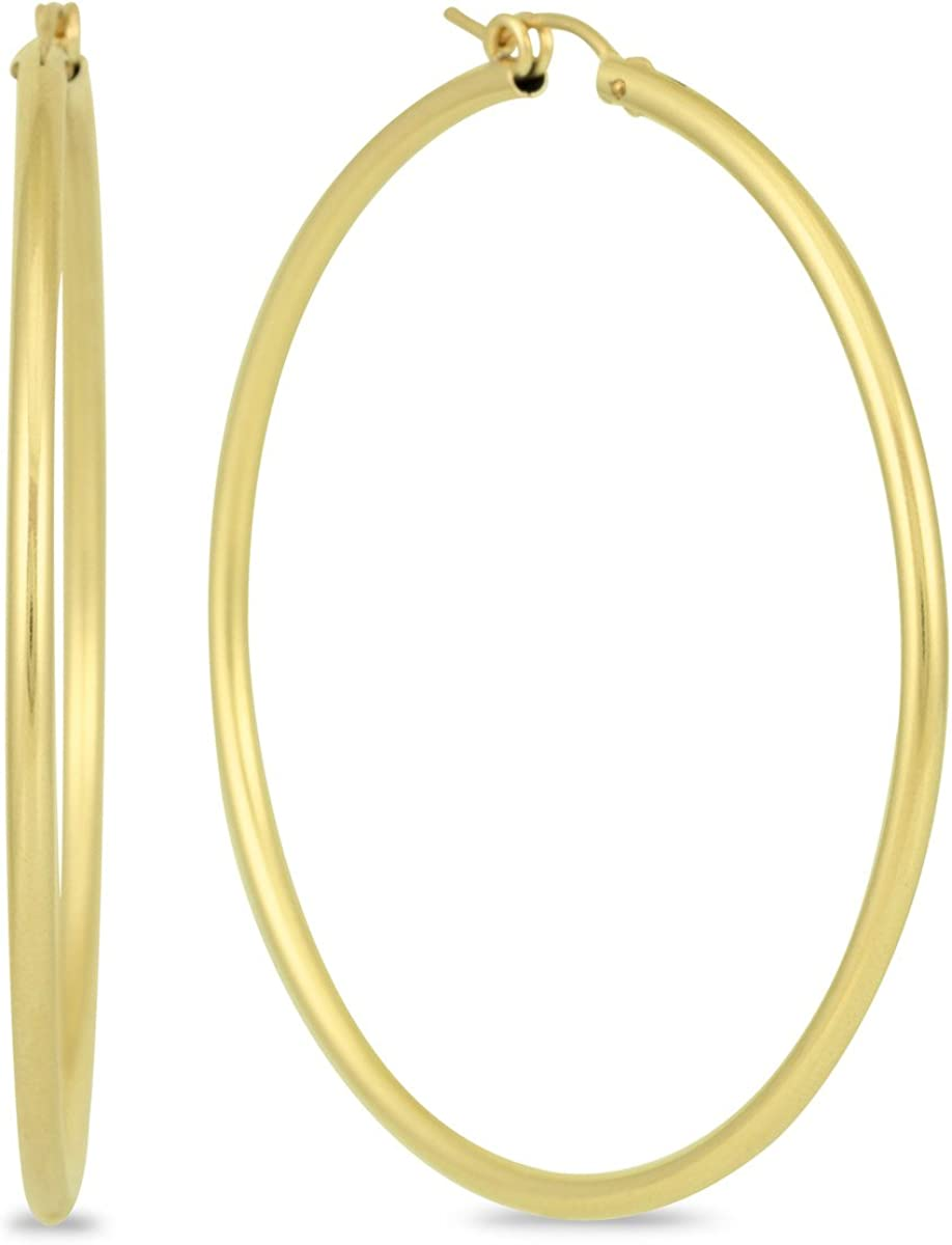 SALENEW very popular! 14K Yellow Gold Manufacturer regenerated product Filled 55mm Hoop Earrings