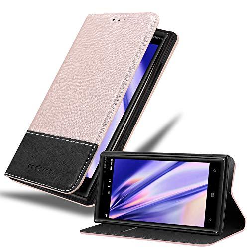 Cadorabo Hülle für Nokia Lumia 830 in ROSÉ Gold SCHWARZ – Handyhülle mit Magnetverschluss, Standfunktion & Kartenfach – Hülle Cover Schutzhülle Etui Tasche Book Klapp Style