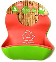 Jump Baby confezione da 2 bavaglini impermeabili Messy Monster in silicone super morbido (colore rosso e verde lime)...