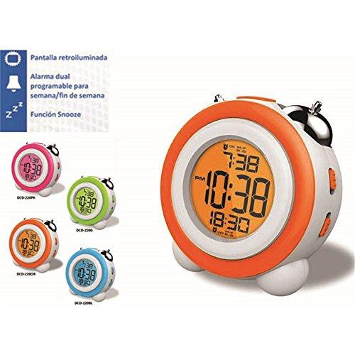 Reloj despertador daewo dcd220or, pantalla retroil dbf130