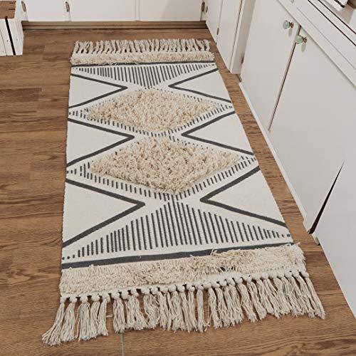 Boho Kitchen Runner Rug, 2'x4' Cotton Geometric...