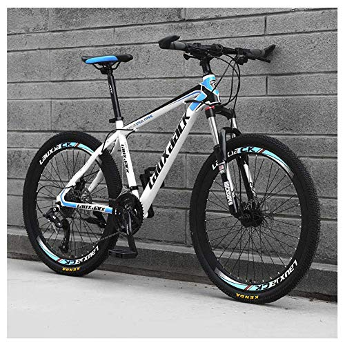 Chenbz Outdoor sports 26' Adult Mountain Bike, 27Speed Drivetrain Front Suspension Variable Speed HighCarbon Steel Mountain Bike,Blue