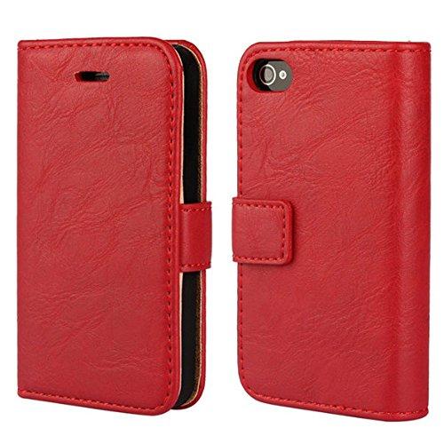 FDTCYDS iPhone 4 hülle, iPhone 4s Handyhülle, Premium Leder Handy Schutzhülle Flip Hülle Tasche für iPhone 4,iPhone 4s - Rot